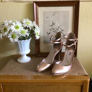 Anthropologie FarylRobin Rose Gold Strappy Heels